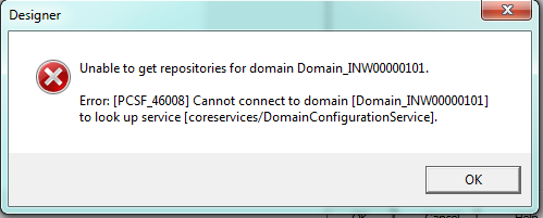 Cannot connect to domain to look up service
